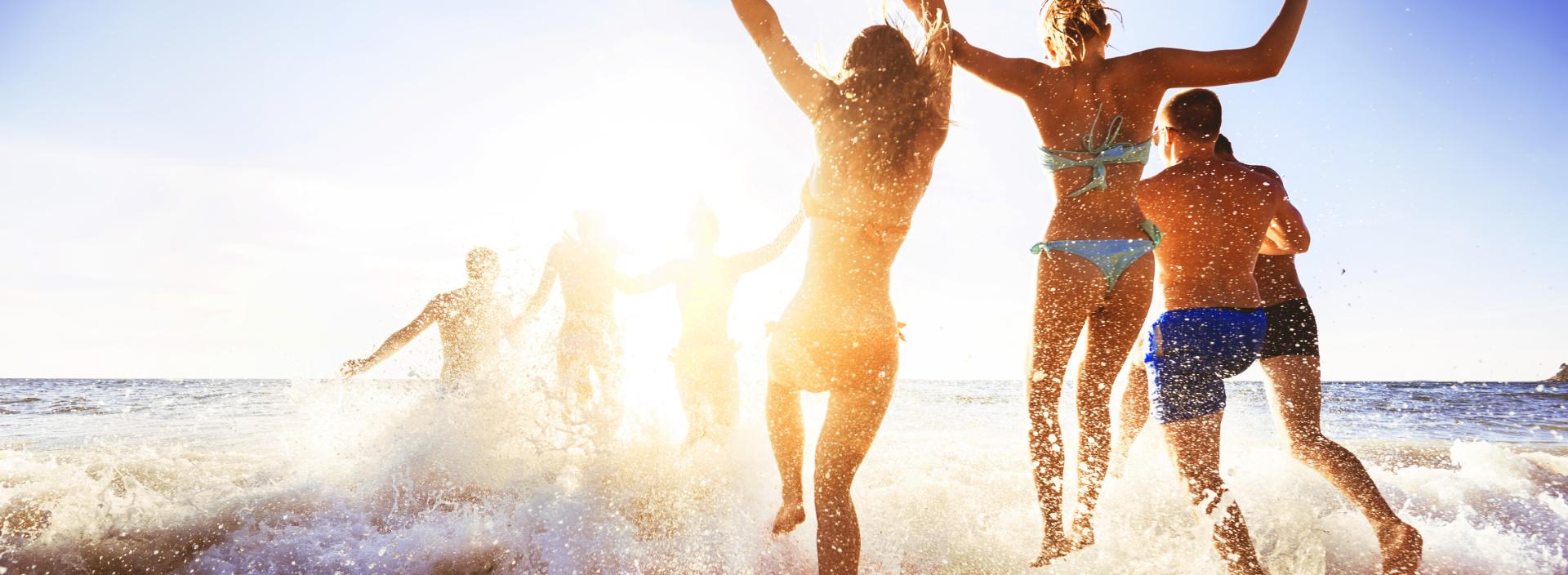 friends at a beach